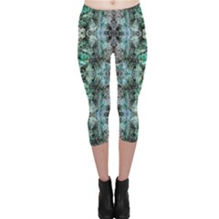 Green Black Gothic Pattern Capri Leggings by Costasonlineshop