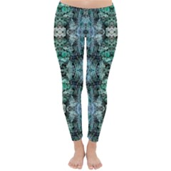 Green Black Gothic Pattern Winter Leggings  by Costasonlineshop