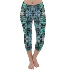 Green Black Gothic Pattern Capri Winter Leggings  by Costasonlineshop