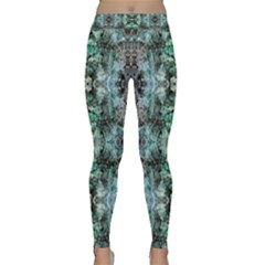 Green Black Gothic Pattern Yoga Leggings by Costasonlineshop