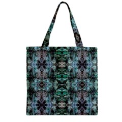 Green Black Gothic Pattern Zipper Grocery Tote Bags by Costasonlineshop