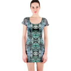 Green Black Gothic Pattern Short Sleeve Bodycon Dresses by Costasonlineshop
