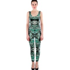 Green Black Gothic Pattern OnePiece Catsuits by Costasonlineshop