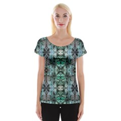 Green Black Gothic Pattern Women s Cap Sleeve Top