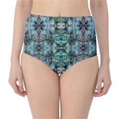 Green Black Gothic Pattern High Waist Bikini Bottoms by Costasonlineshop