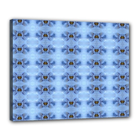 Pastel Blue Flower Pattern Canvas 20  X 16  by Costasonlineshop