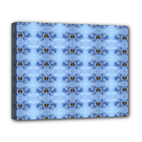 Pastel Blue Flower Pattern Deluxe Canvas 20  X 16   by Costasonlineshop