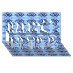 Pastel Blue Flower Pattern Happy Birthday 3d Greeting Card (8x4)  by Costasonlineshop