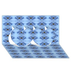 Pastel Blue Flower Pattern Twin Hearts 3d Greeting Card (8x4)