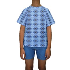 Pastel Blue Flower Pattern Kid s Short Sleeve Swimwear by Costasonlineshop