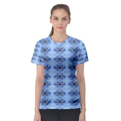 Pastel Blue Flower Pattern Women s Sport Mesh Tees by Costasonlineshop