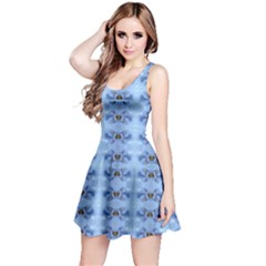 Pastel Blue Flower Pattern Reversible Sleeveless Dresses by Costasonlineshop