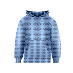 Pastel Blue Flower Pattern Kid s Pullover Hoodies by Costasonlineshop