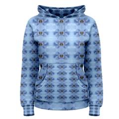Pastel Blue Flower Pattern Women s Pullover Hoodies