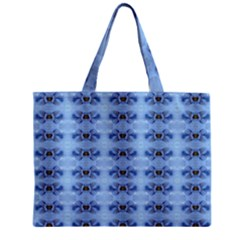 Pastel Blue Flower Pattern Zipper Tiny Tote Bags by Costasonlineshop