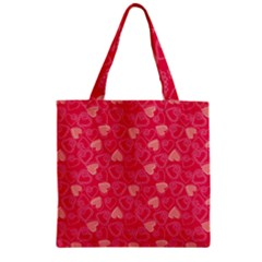 Red Pink Valentine Pattern With Coral Hearts Zipper Grocery Tote Bags by ArigigiPixel