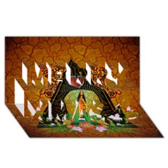 Surfing, Surfboard With Flowers And Floral Elements Merry Xmas 3d Greeting Card (8x4)