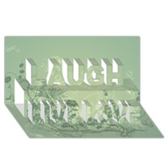 Wonderful Flowers In Soft Green Colors Laugh Live Love 3d Greeting Card (8x4)