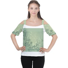 Wonderful Flowers In Soft Green Colors Women s Cutout Shoulder Tee