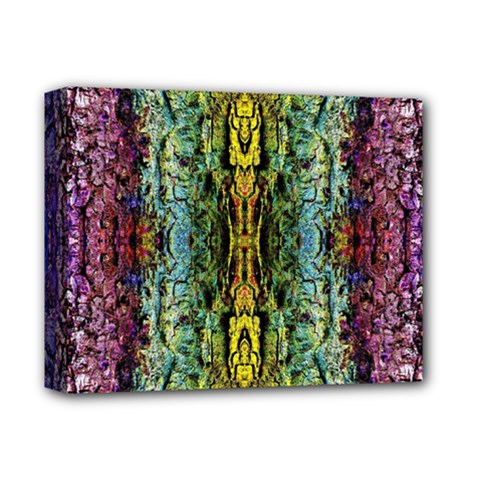 Abstract, Yellow Green, Purple, Tree Trunk Deluxe Canvas 14  X 11  by Costasonlineshop