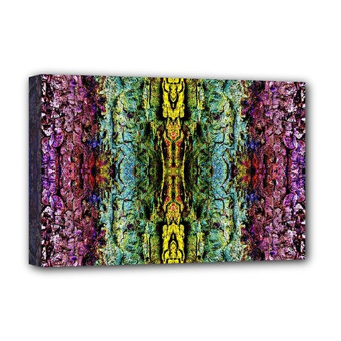 Abstract, Yellow Green, Purple, Tree Trunk Deluxe Canvas 18  X 12   by Costasonlineshop