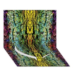 Abstract, Yellow Green, Purple, Tree Trunk Heart Bottom 3d Greeting Card (7x5)  by Costasonlineshop