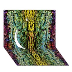 Abstract, Yellow Green, Purple, Tree Trunk Circle 3d Greeting Card (7x5)