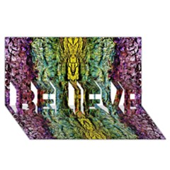 Abstract, Yellow Green, Purple, Tree Trunk Believe 3d Greeting Card (8x4)  by Costasonlineshop