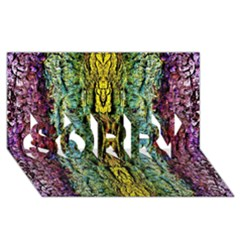Abstract, Yellow Green, Purple, Tree Trunk Sorry 3d Greeting Card (8x4)  by Costasonlineshop
