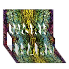 Abstract, Yellow Green, Purple, Tree Trunk Work Hard 3d Greeting Card (7x5)  by Costasonlineshop