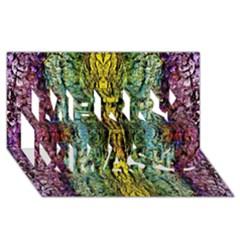 Abstract, Yellow Green, Purple, Tree Trunk Merry Xmas 3d Greeting Card (8x4)  by Costasonlineshop