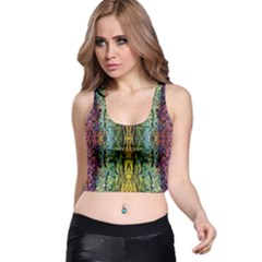 Abstract, Yellow Green, Purple, Tree Trunk Racer Back Crop Tops