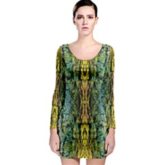 Abstract, Yellow Green, Purple, Tree Trunk Long Sleeve Bodycon Dresses by Costasonlineshop