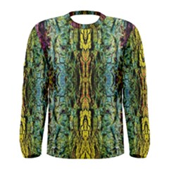 Abstract, Yellow Green, Purple, Tree Trunk Men s Long Sleeve T Shirts by Costasonlineshop