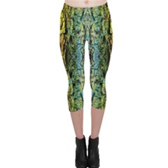 Abstract, Yellow Green, Purple, Tree Trunk Capri Leggings
