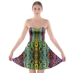Abstract, Yellow Green, Purple, Tree Trunk Strapless Bra Top Dress by Costasonlineshop
