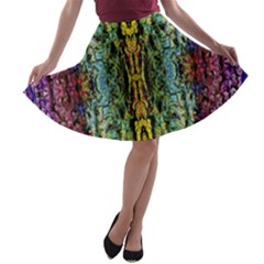 Abstract, Yellow Green, Purple, Tree Trunk A Line Skater Skirt by Costasonlineshop