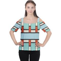 Vertical And Horizontal Rectangles Women s Cutout Shoulder Tee