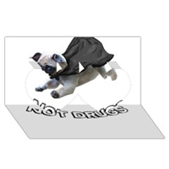 Do Pugs Twin Hearts 3d Greeting Card (8x4)
