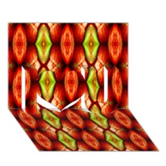 Melons Pattern Abstract I Love You 3d Greeting Card (7x5)  by Costasonlineshop