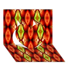 Melons Pattern Abstract Heart 3d Greeting Card (7x5)  by Costasonlineshop