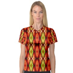 Melons Pattern Abstract Women s V Neck Sport Mesh Tee
