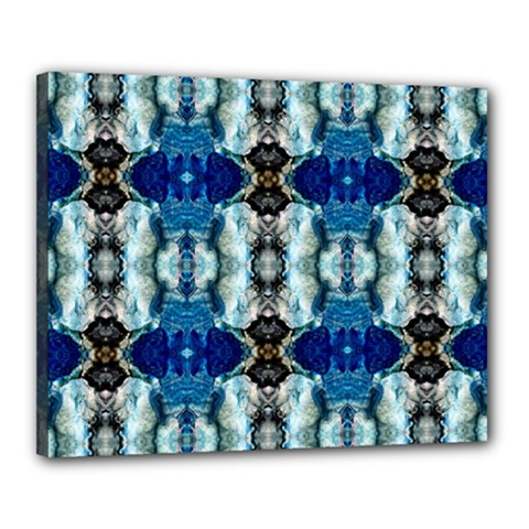 Royal Blue Abstract Pattern Canvas 20  X 16  by Costasonlineshop