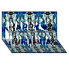 Royal Blue Abstract Pattern Happy Birthday 3d Greeting Card (8x4)