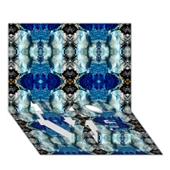 Royal Blue Abstract Pattern Love Bottom 3d Greeting Card (7x5)  by Costasonlineshop