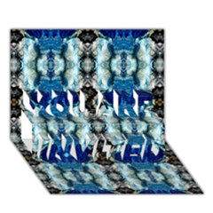Royal Blue Abstract Pattern You Are Invited 3d Greeting Card (7x5)