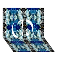 Royal Blue Abstract Pattern Peace Sign 3d Greeting Card (7x5)