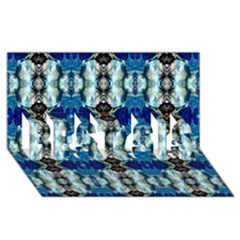 Royal Blue Abstract Pattern Best Sis 3d Greeting Card (8x4)  by Costasonlineshop