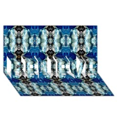 Royal Blue Abstract Pattern Believe 3d Greeting Card (8x4)