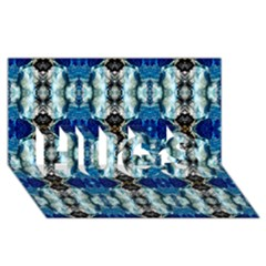 Royal Blue Abstract Pattern HUGS 3D Greeting Card (8x4)  by Costasonlineshop